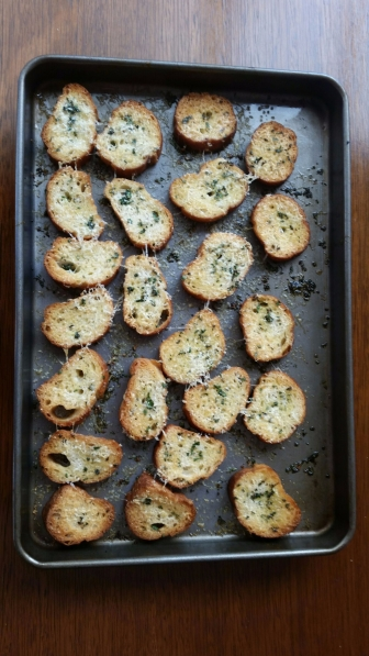 Crostini fresh from the oven.