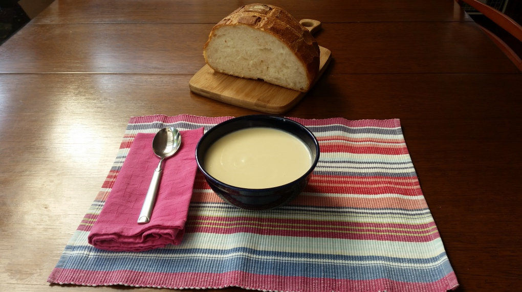 cauliflower soup and bread