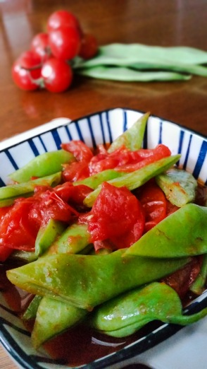 green beans and tomatoes cooked