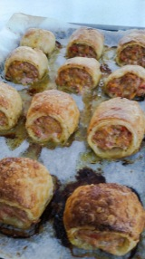 sausage roll fresh from oven