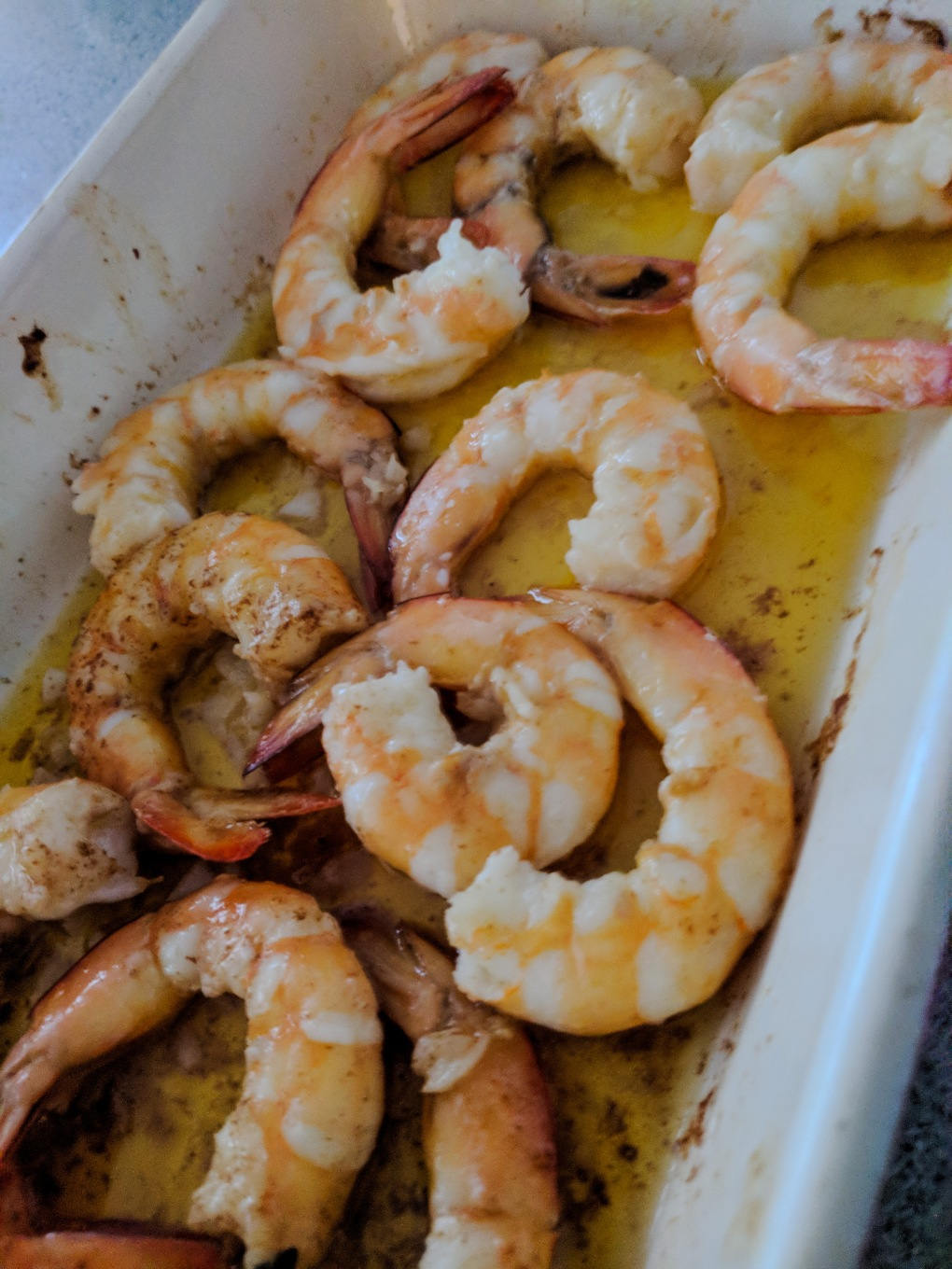 Garlic prawns ready to eat