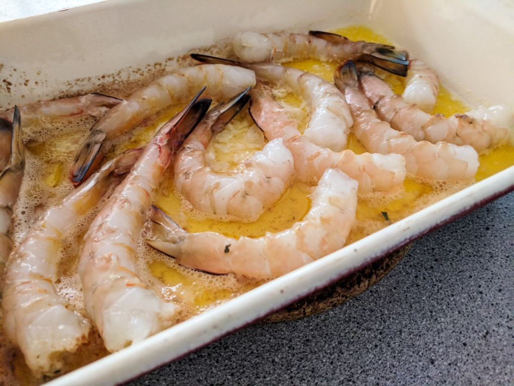 Garlic prawns ready to flip